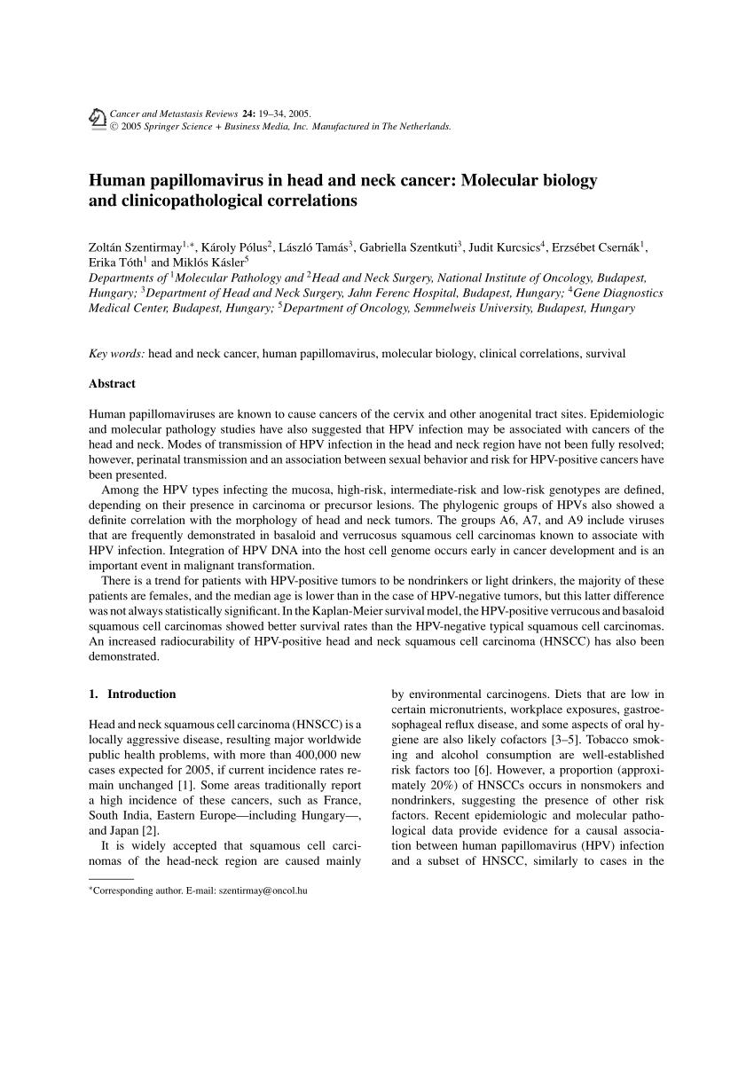 papillomavírus 1. stádium